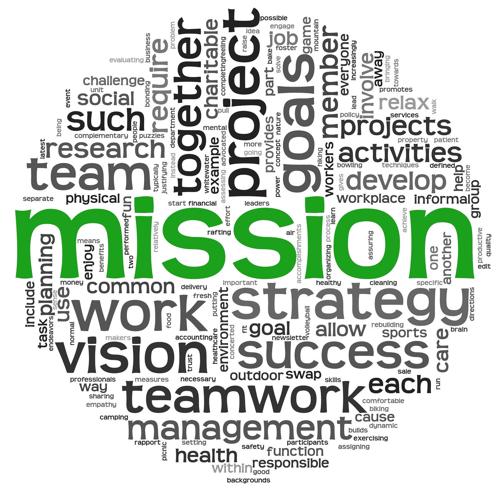 Mission and business concept in word tag cloud isolated on white